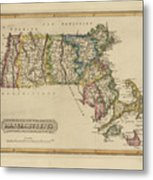Antique Map Of Massachusetts Metal Print