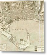 Vintage Map Of Messina Italy - 1900 Metal Print
