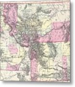 Vintage Map Of Montana, Wyoming And Idaho  Metal Print