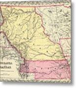 Vintage Map Of Nebraska And Kansas - 1856 Metal Print