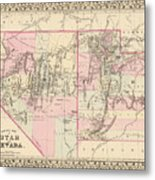 Vintage Map Of Nevada And Utah - 1880 Metal Print