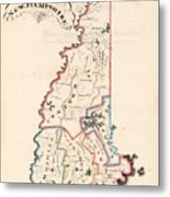 Vintage Map Of New Hampshire - 1819 Metal Print