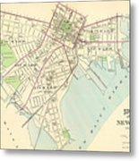 Vintage Map Of New Haven Connecticut - 1893 Metal Print