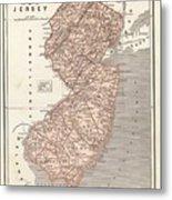 Vintage Map Of New Jersey - 1845 Metal Print