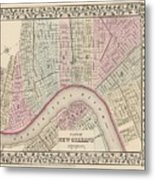 Vintage Map Of New Orleans - 1880 Metal Print