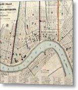 Vintage Map Of New Orleans Louisiana - 1845 Metal Print
