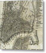Vintage Map Of New York City - 1842 Metal Print