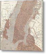 Vintage Map Of New York City - 1845 Metal Print