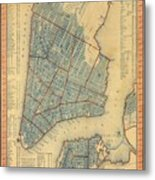 Vintage Map Of New York City - 1846 Metal Print