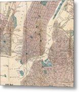 Vintage Map Of New York City - 1867 Metal Print