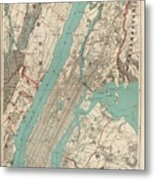 Vintage Map Of New York City - 1890 Metal Print