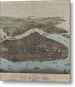 Vintage Map Of New York City - 1905 Metal Print