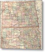 Vintage Map Of North And South Dakota - 1891 Metal Print