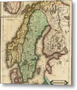 Vintage Map Of Norway And Sweden - 1831 Metal Print