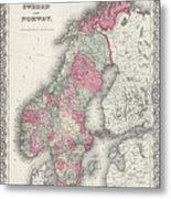 Vintage Map Of Norway And Sweden - 1865 Metal Print