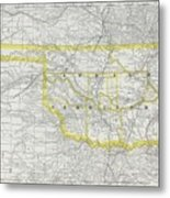 Vintage Map Of Oklahoma - 1889 Metal Print