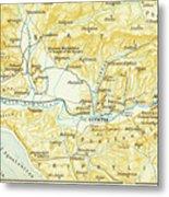 Vintage Map Of Olympia Greece - 1894 Metal Print
