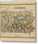 Antique Map Of Pennsylvania Metal Print