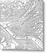 Vintage Map Of Pittsburgh - 1885 Metal Print