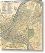 Vintage Map Of Pittsburgh Pa - 1891 Metal Print