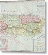 Vintage Map Of Puerto Rico - 1901 Metal Print
