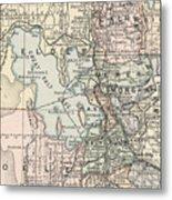 Vintage Map Of Salt Lake City - 1891 Metal Print