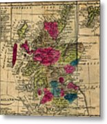 Vintage Map Of Scotland - 1808 Metal Print