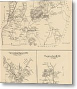Vintage Map Of Spofford And Chesterfield Nh - 1892 Metal Print