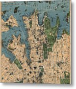 Vintage Map Of Sydney Australia - 1922 Metal Print