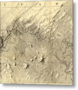 Vintage Map Of The Colorado River - 1858 Metal Print