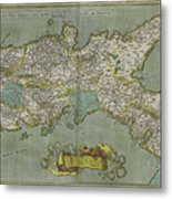 Vintage Map Of The Kingdom Of Naples - 1608 Metal Print