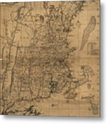 Vintage Map Of The New England Coast - 1771 Metal Print