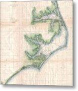 Vintage Map Of The North Carolina Coast  Metal Print