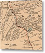Vintage Map Of The Panama Canal - 1885 Metal Print