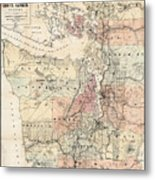 Vintage Map Of The Puget Sound - 1891 Metal Print