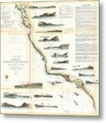 Vintage Map Of The U.s. West Coast - 1853 Metal Print