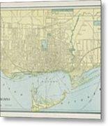 Vintage Map Of Toronto - 1901 Metal Print