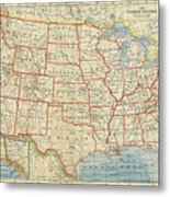 Vintage Map Of United States, 1883 Metal Print