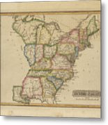Antique Map Of United States Metal Print