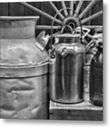 Vintage Milk In Black And White Metal Print