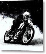 Vintage Motorcycle Racer Metal Print