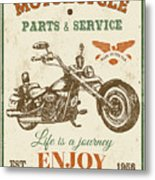 Vintage Motorcycling Mancave-c Metal Print