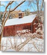 Vintage New England Barn Portrait Metal Print by Bill Wakeley