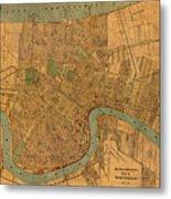 Vintage New Orleans Louisiana Street Map 1919 Retro Cartography Print On Worn Canvas Metal Print