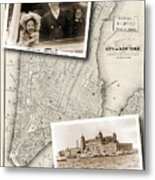 Vintage New York Map With Ellis Island Metal Print