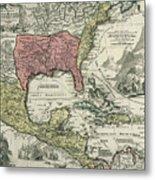 Vintage North America And Caribbean Map - 1720 Metal Print