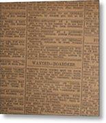 Vintage Old Classified Newspaper Ads Metal Print