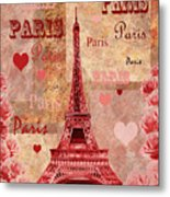 Vintage Paris And Roses Metal Print
