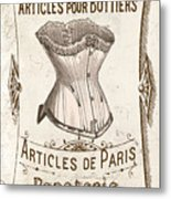 Vintage Paris Corsette Sign Metal Print