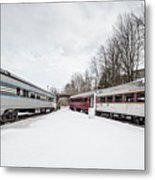 Vintage Passenger Train Cars In Winter Metal Print